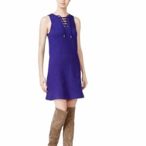 NWT Kensie Quilted Lace Up Blue Dress